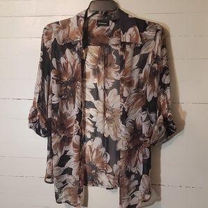 Brown Floral Printed Button Down Shirt      0031